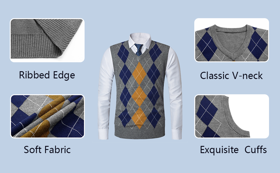 Yingqible Mens Casual Knitted Tank Top V-Neck Sleeveless Vest Sweater Knitwear Argyle MoreDetails