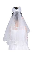 Girls' First Communion Veils Headband with Bow White