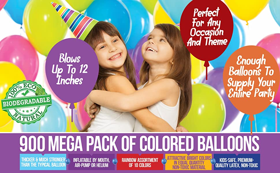 bulk party balloons parties supplies decor decoration 900 helium solid color latex pack balloon