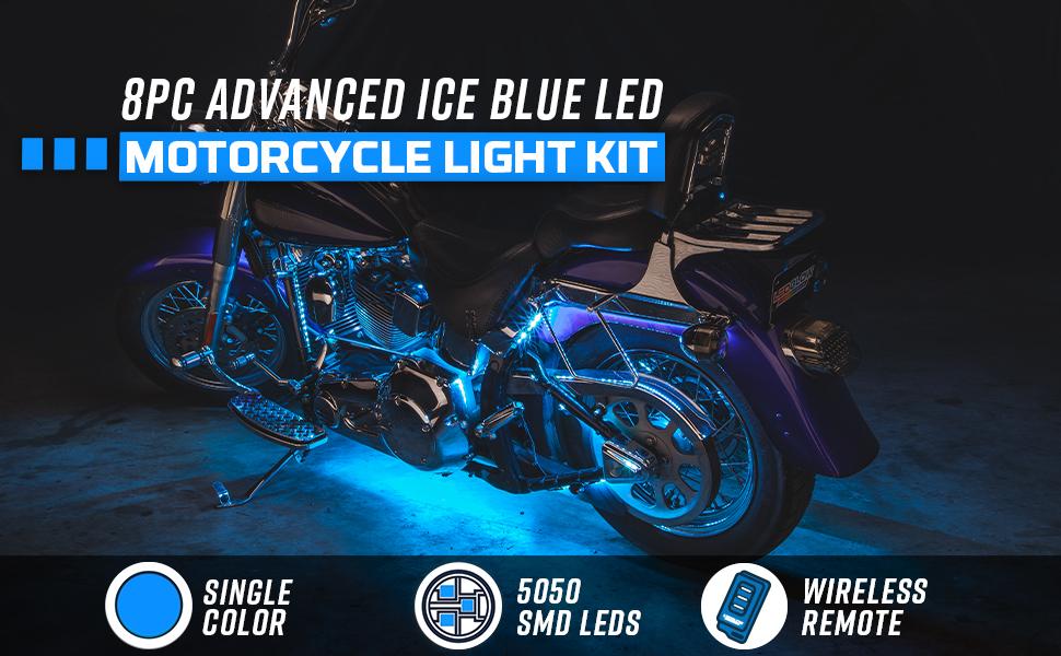 8pc Advanced Ice Blue LED Motorcycle Light Kit
