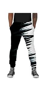 B08GR3YNSL Mans 3D Print Jogger Pants Black&White