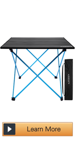 Lightweight Aluminum Folding Square Table Roll Up Top Camp Tables