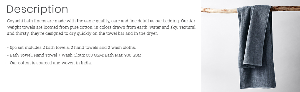 description, towels, coyuchi, hand towels