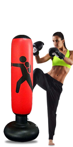 "GEMGO 63"" Inflatable Punching Bags For Practicing Karate, Taekwondo(Red-B)"
