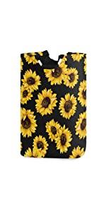 Laundry Storage Basket Beautiful Sunflowers in Black Background Laundry Hamper