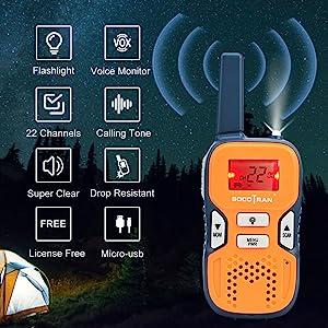 SOCOTRAN Walkie Talkies Small License Free Two Way Radios USB Charging Flashlight 5 Miles Distance Walky Talkies for Family Travel Camping Hiking 2 Pack