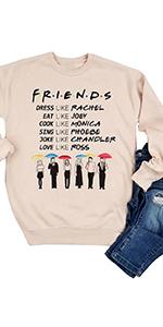 Women Friends TV Show Sweatshirt Long Sleeve Funny Pullover Tunic Top