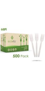 Compostable Biodegradable Bulk Size Forks Disposable Silverware Utensils Cutlery