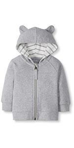 Baby/Toddler Cotton Hooded Zip Sweatshirt