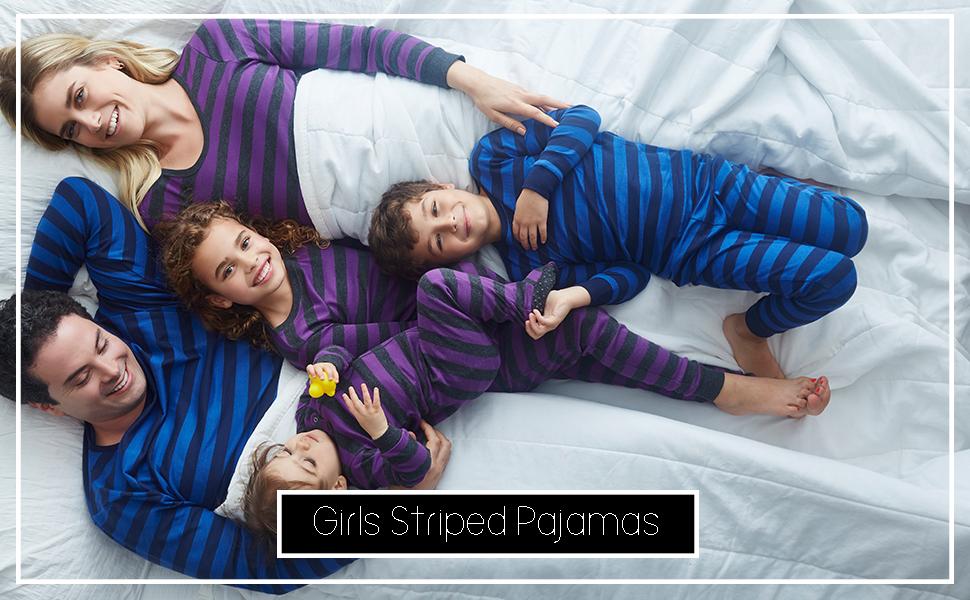 Leveret, girl pajamas, striped pajamas, cotton pajamas, kids pajamas