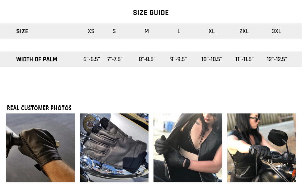 Premium Black Genuine Leather Water-Resistant Touch Screen Men's Motorcycle Riding Gloves Size Guide