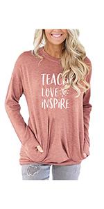 Women Teach Love Inspire Letters Print Shirt Cute Teacher Casual Tee Top