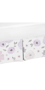 Lavender Purple, Pink, Grey and White Girl Pleated Crib Bed Skirt Dust Ruffle for Watercolor Floral
