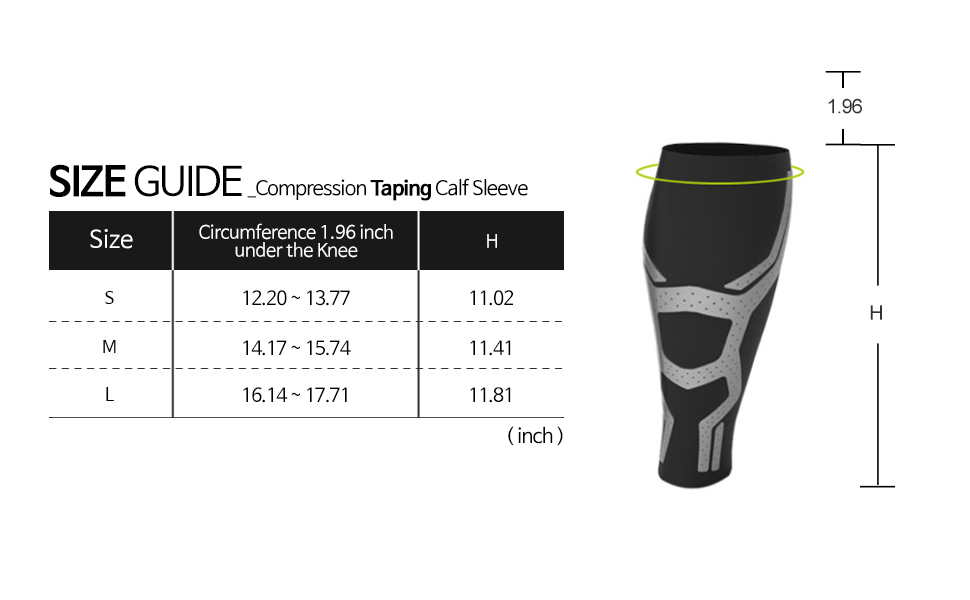 Compression Taping Calf Sleeve Size Guide
