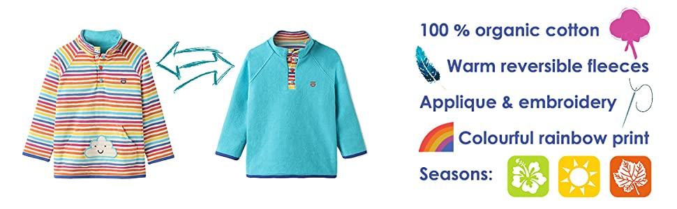 organic cotton fleece jumper baby toddler applique warm autumn spring jacket sweatshirt pockets