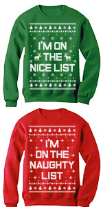 Xmas Nice list Naughty List Ugly Christmas Set Funny Holiday Party matching couple Sweatshirts
