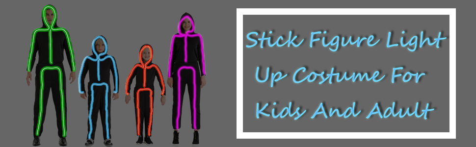 HSCTEK stick figure light up costume for kids and adult