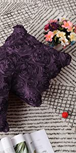 3D Satin Rose Flower Throw Pillow Cover Shells
