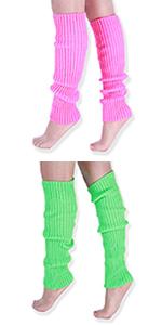 neon bright fluorescent leg warmers legwarmers 80s dance 1980s accessories bright fashion costume