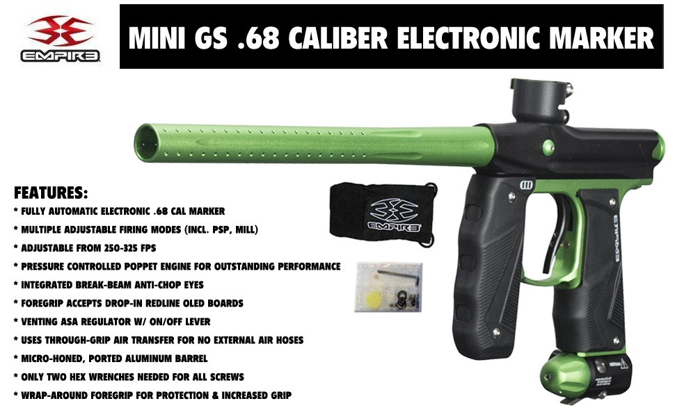 Empire Mini GS .68 Caliber Fully Automatic Electronic Paintball Marker Gun Package