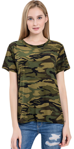 Womens O-Neck Camouflage T-Shirt