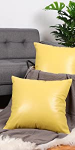 Faux Leather Throw Pillow Cover