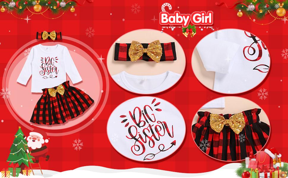 big sister letter print red palid dress bow headband