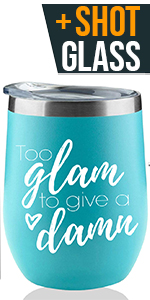 Too Glam To Give A Damn wine tumbler rose gold for parents return gift for adults finally 13th bday