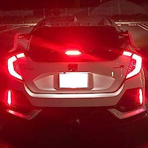 Red Lens Bumper Reflector Lights 2017-up Honda Civic Hatchback SI Type-R Sedan Tail Brake Lamps