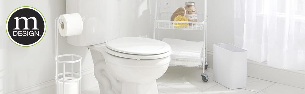 bathroom bath tub shower toilet paper holder reserve dispenser organization waste trash can curtain