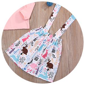 easter bunny print floral skirt