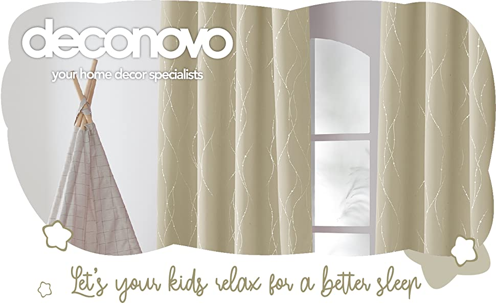 Deconovo silver dots and wave curtains grommet curtains 38inch blackout curtains royal blue