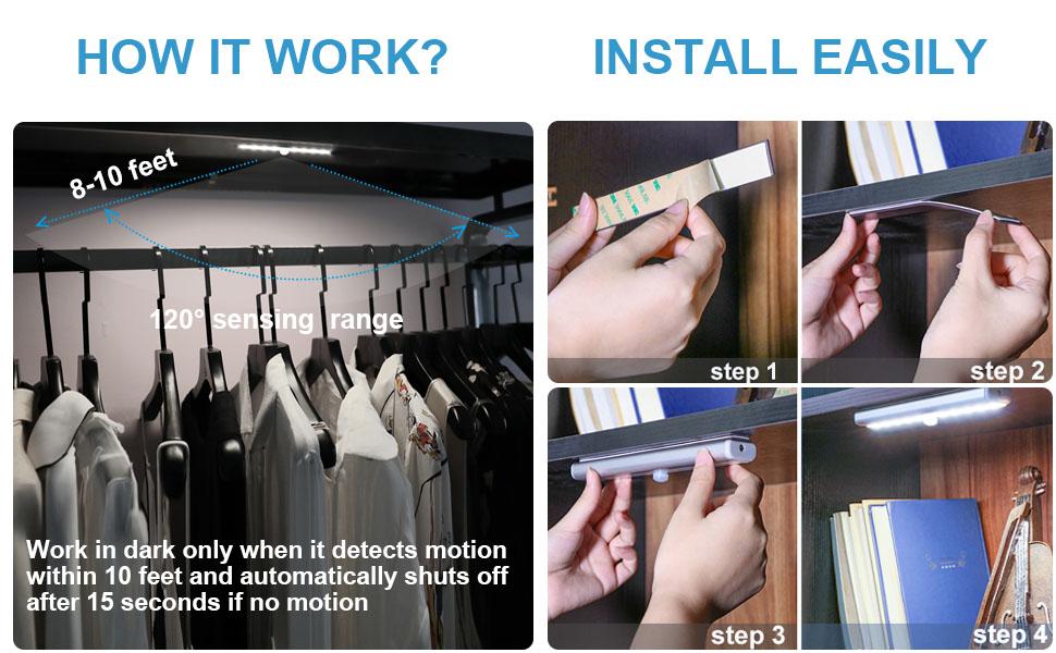 cupboard light with slide switch LED night light bar 6000k hallway wardrobe motion sensor light
