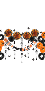 Halloween Party Decoration Tissue Paper Fans Skeleton Ghost Garland Balloons