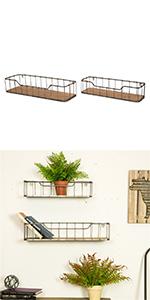 Galvanized Wooden/Metal Wall Shelf Set of 2
