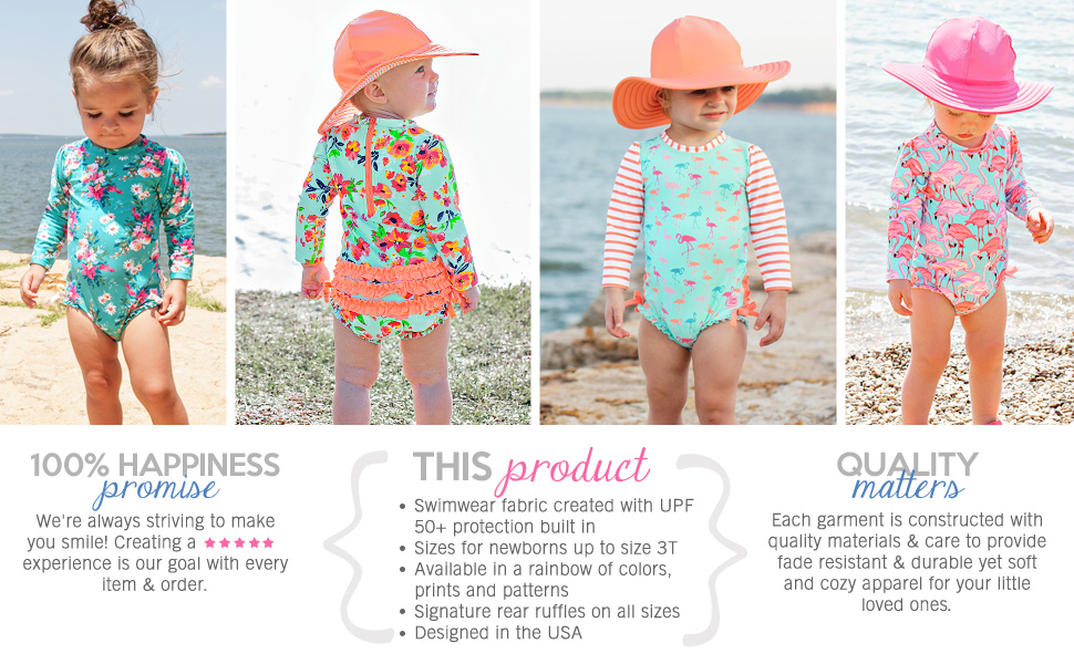 rufflebutts rash guard one piece long sleeve sun protective fabric