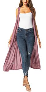 Long Open Front Cardigan Vest
