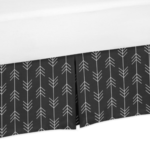 Black and White Woodland Arrow Baby Boy Pleated Crib Bed Skirt Dust Ruffle for Rustic Patch