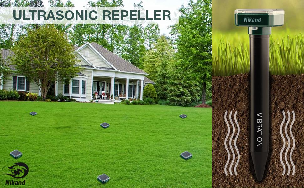 4pcs, repellent, mole, solar, sonic, repeller, ultrasonic, outdoor, gopher, snake, powered, vole