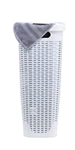 White Slim and tall laundry hamper skinny with lid and cutout handles