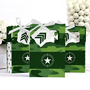 Camo Hero Army Military Camouflage Baby Shower Birthday Bday Party Favor Boxes