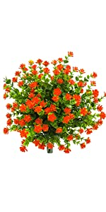 Artificial Flowers 6 Bundles Outdoor UV Resistant Plants Shrubs Plastic Leaves