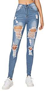 Women's Mid Waist Skinny Ripped Denim Jeans Pants