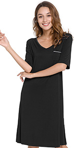 short sleeve nightgown womens summer sleep shirt pocket soft night dress bamboo rayon lounge wear