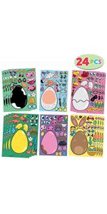 24 PCS Mix and Match Make-a-Face Animal Stickers