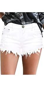 MODARANI Denim Shorts for Women Frayed Jean Short Cute Mid Rise Ripped Hot Short