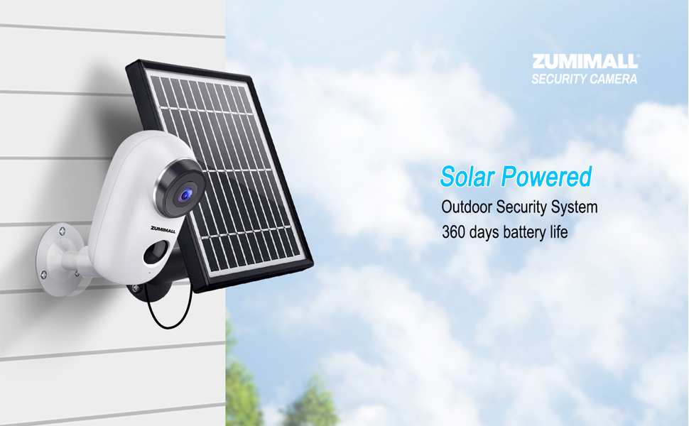 Zumimall Solar Panel Power Supply For Zumimall Rechargeable Battery Wireless Security Camera A3 A3p