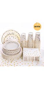 201Pcs Gold Dot Disposable Paper Plates, Napkins Cups, Tableware Sets
