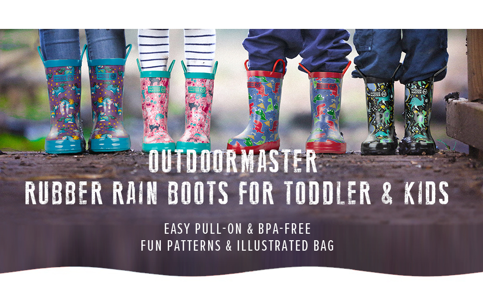 OutdoorMaster Kid Rubber Rain Boots