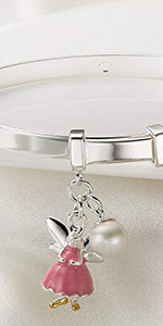 Sterling Silver Pink Fairy Baptism Kid's Bangle
